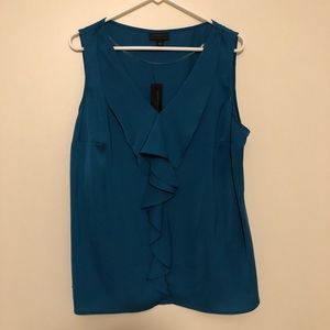 Worthington Ruffle Silk Blouse. Blue. XL.